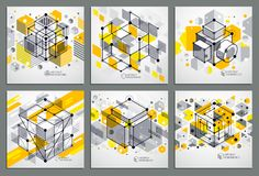 Engineering technological yellow vector 3D wallpapers set made w. Ith cubes and lines. Illustration of engineering system, abstract technological backdrop Stock Image