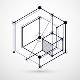 Engineering technology vector black and white wallpaper made wit. H 3D cubes and lines. Engineering technological wallpaper made with honeycombs. Abstract Stock Image