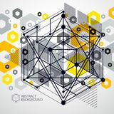 Engineering technology vector yellow wallpaper made with 3D cube. S and lines. Engineering technological wallpaper made with honeycombs. Abstract technical Stock Image