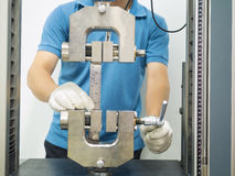 Engineering testing machine. Tensile strength test in preparation stage Royalty Free Stock Photo
