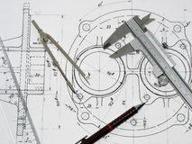 Engineering tools. On technical drawing Stock Image