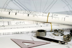 Engineering Tools and Drawings Stock Image