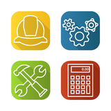 Engineering tools flat linear long shadow icons set.Helmet, gears options, hammer and wrench, calculator. Vector line Stock Images