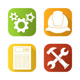 Engineering tools flat long shadow icons set. Helmet, gears options, hammer and wrench, calculator. Isolated vector Royalty Free Stock Image