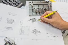 Engineering tools. On technical drawing Stock Photo