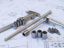 Engineering tools on technical drawing. Engineering tools on blueprint technical drawing Royalty Free Stock Image