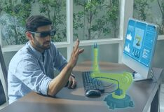 Free Engineering Use Augmented Mixed Virtual Reality Integrate Artificial Intelligence Combine Deep, Machine Learning, Digital Twin, 5G Royalty Free Stock Image - 172096436