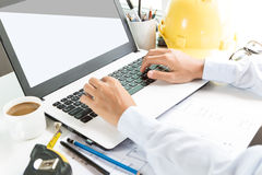 Engineering use laptop computer. On workspace Stock Image