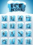 Engineering icon set. Engineering vector icons frozen in transparent blocks of ice stock illustration