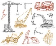 Engineering vehicle. Heavy equipment for the construction of buildings. Agricultural machinery. Crane and agrimotor vector illustration