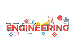 Engineering word illustration. Illustration of ENGINEERING word in STEM - science, technology, engineering, mathematics education concept typography design with Royalty Free Stock Photos