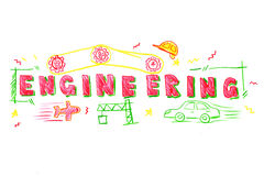 Engineering word illustration Royalty Free Stock Photography