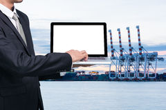 Engineering working hold conputer notebook Royalty Free Stock Photo