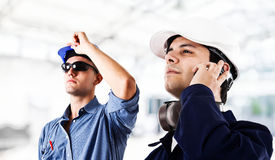 Engineers. At work in a factory Stock Image