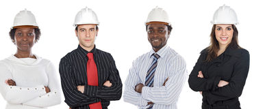 Engineers African-Americans and Caucasians stock photo