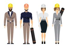 Engineers and architect set with civil engineering construction workers and surveyor  flat vector illustration.  Stock Photos