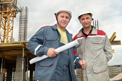 Engineers builders at construction Royalty Free Stock Photo
