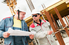 Engineers builders at construction Royalty Free Stock Images