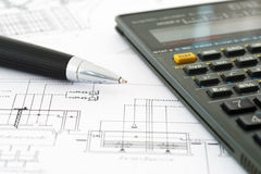 Engineers calculator with drawings Stock Image