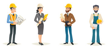 Engineers Cartoon Set. With civil engineering construction workers architect and surveyor isolated vector illustration Stock Photos