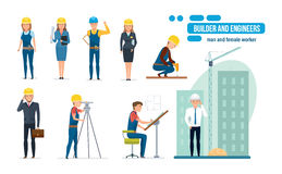 Engineers cartoon set with construction workers, architect, repairman and director. Engineers cartoon set with construction workers team, builder, architect Stock Photo