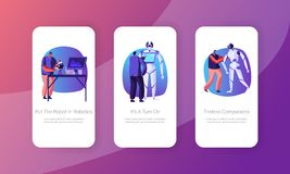 Engineers Characters Making and Programming Robots Mobile App Page Onboard Screen Set. Robotics Hardware and Software. Engineering Concept for Website or Web vector illustration