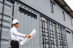 Engineers checking construction building project on site Stock Photos