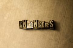 ENGINEERS - close-up of grungy vintage typeset word on metal backdrop Royalty Free Stock Image