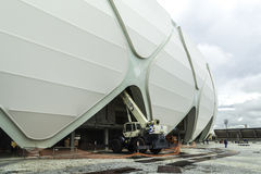 Engineers construct the Arena Manaus in Manaus, Brazil. The Arena is one of the stadiums for the World Cup Stock Photos