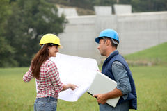 Engineers on construction site Stock Photos