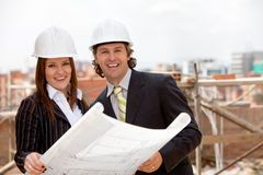 Engineers at a construction site Royalty Free Stock Images
