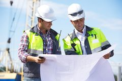 Engineers At Construction Site royalty free stock image