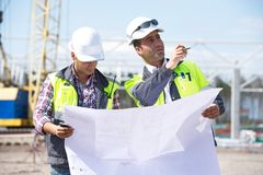 Engineers At Construction Site Stock Photos