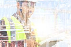 Engineers and construction sites. Double exposure royalty free stock images