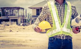 Engineers and construction sites. And crane royalty free stock image