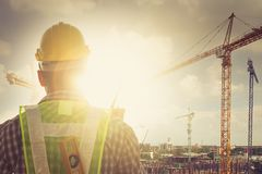 Engineers and construction sites Royalty Free Stock Photos