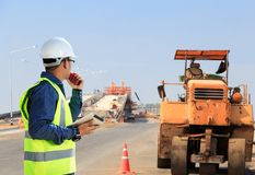 Engineers. Engineers and construction sites roads royalty free stock photo