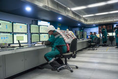Engineers in control room of Tobolsk Polymer Royalty Free Stock Photography