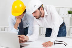 Engineers developing town infrastructure Stock Photos
