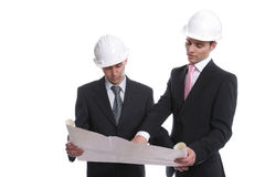 Engineers discussing new project. Isolated in white background stock photos