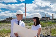 Engineers Examing Blueprints Royalty Free Stock Photo