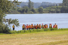 Engineers Gather at the Fraser River Stock Photography