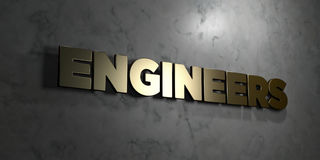 Engineers - Gold sign mounted on glossy marble wall  - 3D rendered royalty free stock illustration Stock Photo