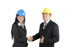Engineers handshake Royalty Free Stock Images