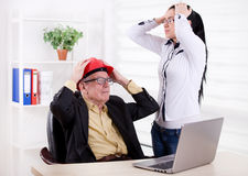 Engineers having big problem in the office Stock Image