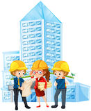 Engineers looking at the blueprint of the building. Illustration vector illustration