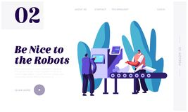 Engineers Male Characters Set Up Part of Robot on Conveyor Belt. Artificial Intelligence Develop and Assembly Technology. Website Landing Page, Web Page vector illustration