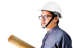 Engineers man are thinking of something isolated on white stock image