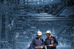 Engineers and nuclear data Royalty Free Stock Photo