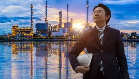 Engineers in oil refinery royalty free stock photos